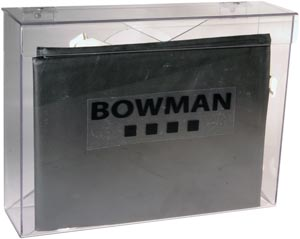 BOWMAN CLEAR PETG PLASTIC AND SINTRA (VARIOUS COLORS) GLOVE DISPENSERS