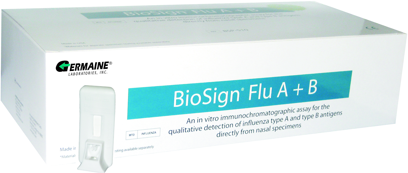BSP-510-25 GERMAINE BIOSIGN FLU  A+B TEST CLIA WAIVED KIT 25  TESTS/KT